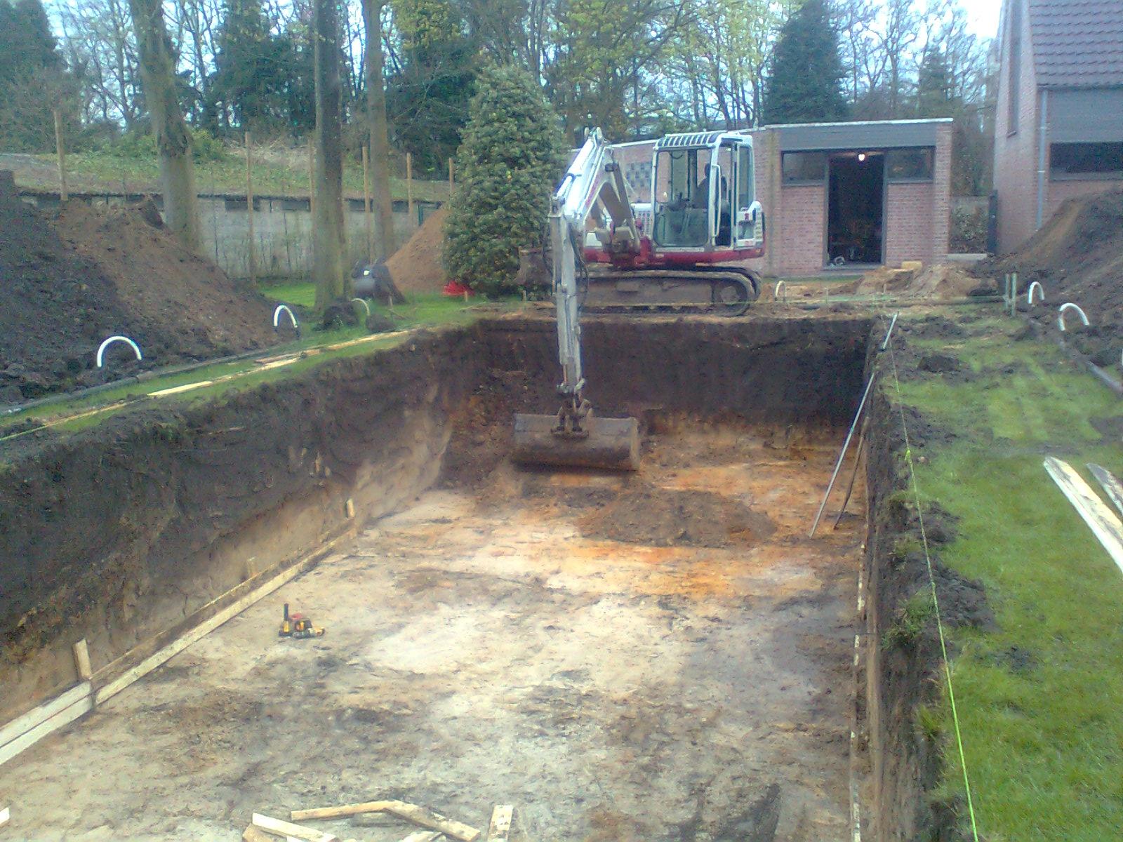graven van put voor zwembad grondwerken janssens